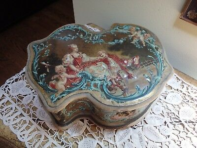 Antique 19c French Vernis Martin Style Letter Box Or Jewelry Box