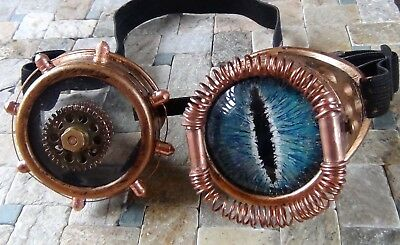 Steampunk custom goggle with hand painted glass blue and green dragon eye