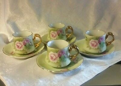 Set of 4- Lefton China Heritage Green Rose Demitasse Tea Cups And Saucers 5853