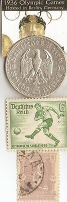 *1896 and 1936- *german Olympic STAMPS and silver(.900%,29 mm,4016 oz) 5 mk.coin