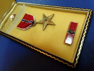 WW2 Bronze Star V Valor Device & Case Named