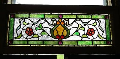 Victorian Stained Glass Window  With Jewels 14 By 34