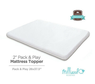 "Milliard 2"" Thick Memory Foam Pack and Play Topper 38"" x 26"""
