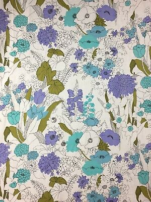 "Vtg. Burlington House Gold Star Floral Sheet Flat 81"" X 104"" Floral Blue Purple"