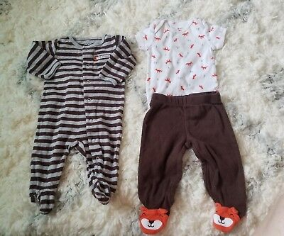 16ba54cdb2e2 Carters Baby Boy 3 Piece Fox Take Me Home Set Outfit Sleeper 3 Months EUC