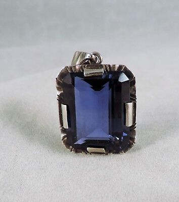 Vintage London Blue Topaz 20 x 16 and Sterling Pendant w/10k White Gold Chain