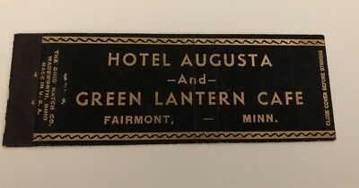Vintage Matchbook Cover Hotel Augusta And Green Lantern Cafe Fairmont Minnesota