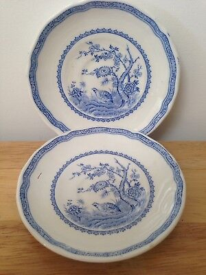 Pair of Vintage Furnivals Masons Blue Quail Pattern Tea Saucers Only 12cm
