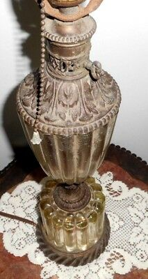 """Vintage Leviton Antique Lamp Brass & Ribbed Glass 27.5"""" ~no shade"""