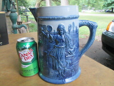 "8 3/4"" tall FLEMISH WARE pitcher.  detailed tavern scene in relief."