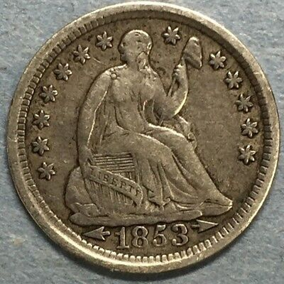 1853 Arrows Seated Liberty 5c Half Dime Great Details Nice Type Coin #SS201