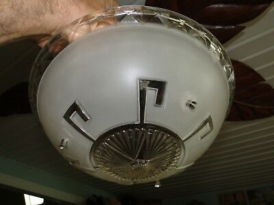 J154* Vintage Art Deco Frosted Clear Hanging Ceiling Light Shade And Fixture