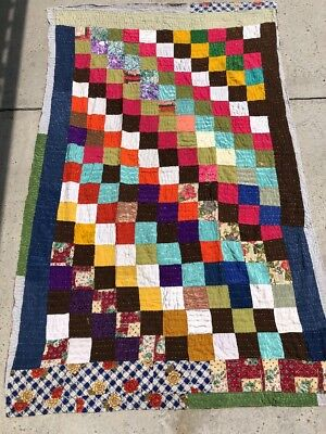 Hand Sewn Country Quilt Patchwork Multi Colors Rug 4X7 Handmade Reversible Q1
