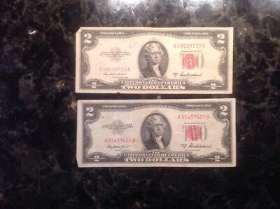 Lot Of (2) 1953 A $ 2 United States Note