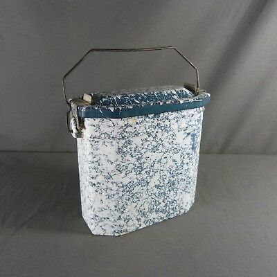 Antique Vintage French Enameled Graniteware Blue & White LUNCH PAIL LUNCH BOX