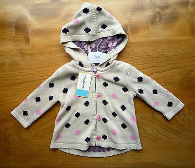 Bluezoo Girl's Beige Knitted Hooded Poncho Cardigan, 3-6 Months - New & Tagged