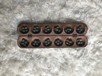 Vintage Old African Handmade Carved Art Wood MANCALA Board Game