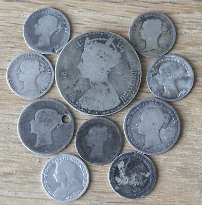 UK Britain Lot 10 pc Victoria Silver coins incl Gothic Florin Shilling Threepenc