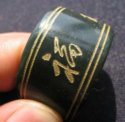 antiuqe.natural nephrite jade hand carved 5fu thumb ring sz13.5-14 collectable