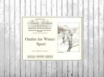 VTG 1920's Brooks Brothers Clothing SKI Skiing Outfit Downhill Winter Sports Ad