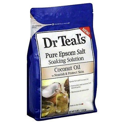 3PK Dr. Teals Epsom Salt Soaking Solution Coconut Oil 3lb 811068015024YN