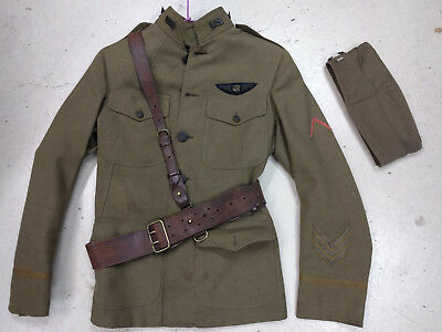 ORIGINAL WWI WW1 Air Service pilots tunic bullion wings & honorable discharge