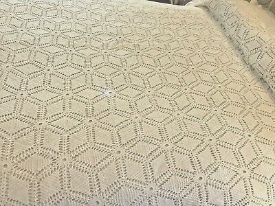 "Vintage Crocheted Full Bedspread HM White French Farmhouse Cutter As-Is 84""x100"""