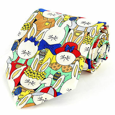 Easter Bunny Parade Mens Neck Tie Holiday Necktie Rabbit Egg Novelty Gift New