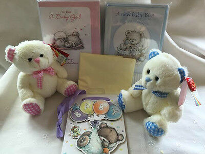Baby Teddy Bear Complete With Gift Bag & Card Deal for Christening or Birth Gift