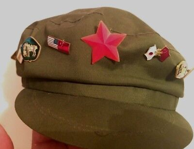 Vintage Communist Chinese Tourist Cap with Red Star, plus 10 Buttons!Olive Green