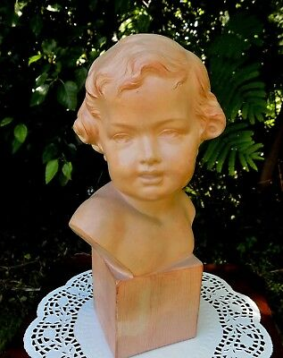 Well Listed Henri Bargas French Art Deco Period Terracotta Bust of Young Child