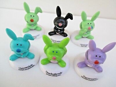 Lot of 6 Jim Benton Happy Bunnies Mini Figures Cake Toppers Sarcastic   6157