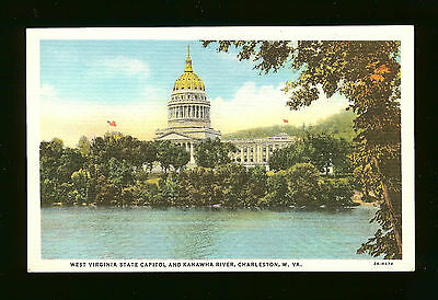 West Virginia State Capitol and Kanawha River -Charleston, WV-One Cent Stamp Box