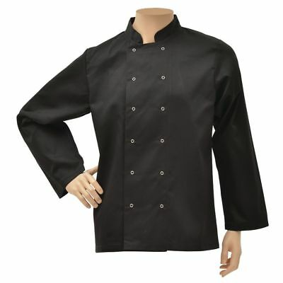 HUBERT Chef Coat Long Sleeve Black Poly Cotton - Extra Large
