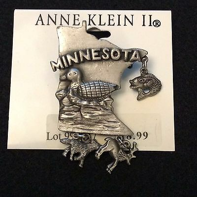 Anne Klein II - Minnesota Travel Souvenir Pin Brooch Lake Duck Fishing Hunting