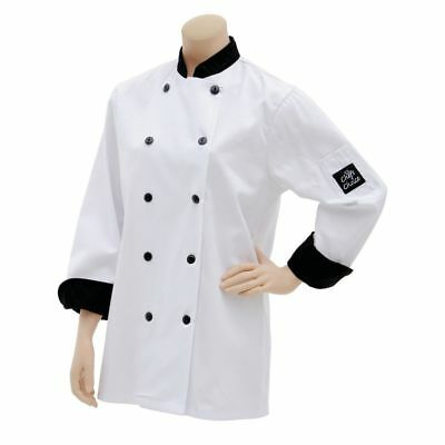Chef Coat with Black Check Trim White Cotton Poly - Large