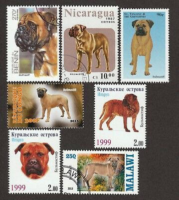 BULLMASTIFF **Int'l Dog Postage Stamp Collection **Unique Gift**