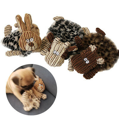 Unstuffed Plush Dog Puppy Pet Toys Squeaker Squeaky Sound Play Chew Cute Toy