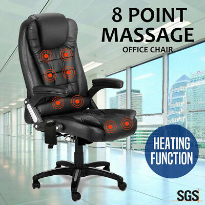 Chair Racing Executive Heat Recliner Computer PU Leather 8 Point Massage Office
