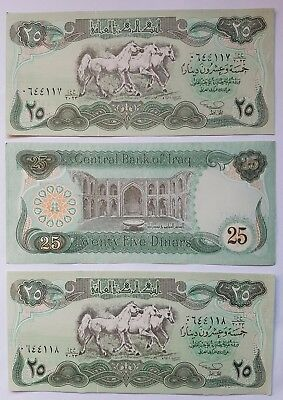Hussan 25 Dinar IRAQI bank notes. 3 consecutive Uncir.notes in mint condition