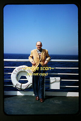 1950's Man on the SS United States Passenger Ship, Original Photo Slide a7a