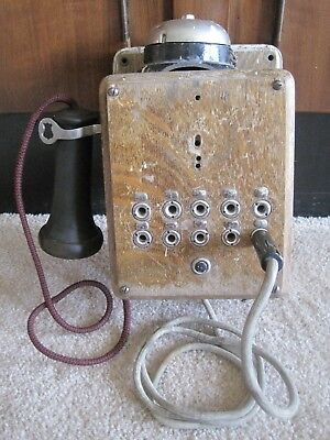 Vintage Antique Chicago Switch Board Oak Wall Telephone 10 Lines~Parts