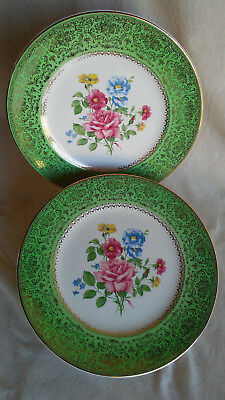2 Imperial Salem China Co. Floral Rose Pattern Collector Plates
