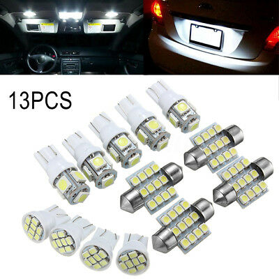 13x Car White LED Light Interior Package T10 Map Dome License Plate Lamps Set