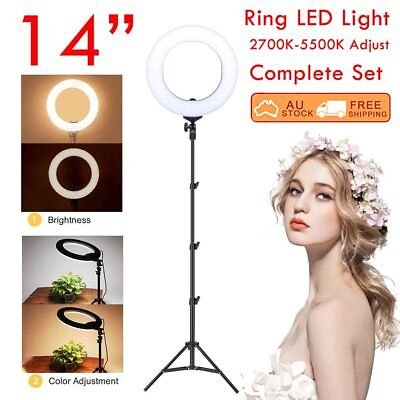 "14"" 5500K Dimmable Diva LED SMD Ring Light Diffuser Mirror Stand Make Up Studio~"