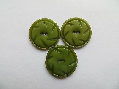 1930s Vintage Med 'Spokes' Lime Olive Green Dress Craft Collectible Buttons-22mm