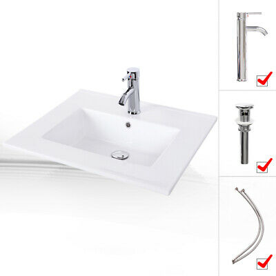 White Bathroom Rectangle Ceramic Vessel Sink Drop in W/ Faucet Pop Up Drain Set