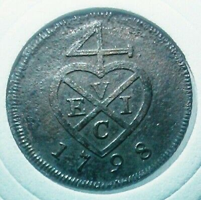Netherlands East Indies 3 Keping 1798 Evic Rare Coin