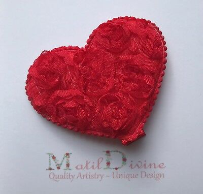 Baby Girl Toddler Non Slip Hair Clip 4.5cm Alligator Large Lace Rose Heart Red