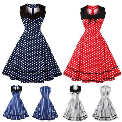 AU Plus Size Women's 50s Vintage Polka Dot Rockabilly Ladies Party Swing Dress